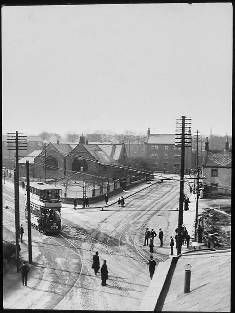 Leeds tram No. 278 aerial view glass slide