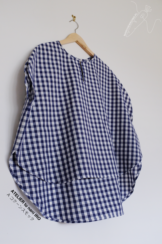 marchewkowa, blog, szycie, krawiectwo, rękodzieło, Wrocław, japońskie wykroje, bluzka kokonowa, kratka vichy, bawełna, sewing, DIY, handmade, cocoon blouse, japanese sewing patterns, minimalism