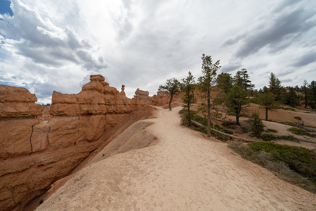 The Queens Garden hiking trail in Bryce Canyon National Park, during an overcast day