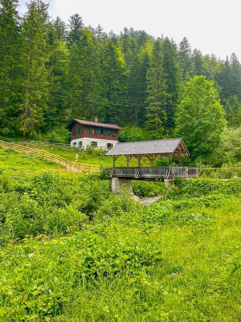 Wooden bridge across Kaiserbach creek in the Kaiser valley in Tyrol, Austria