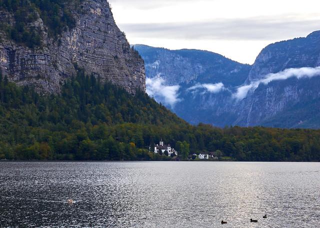view from Hallstatt across the lake