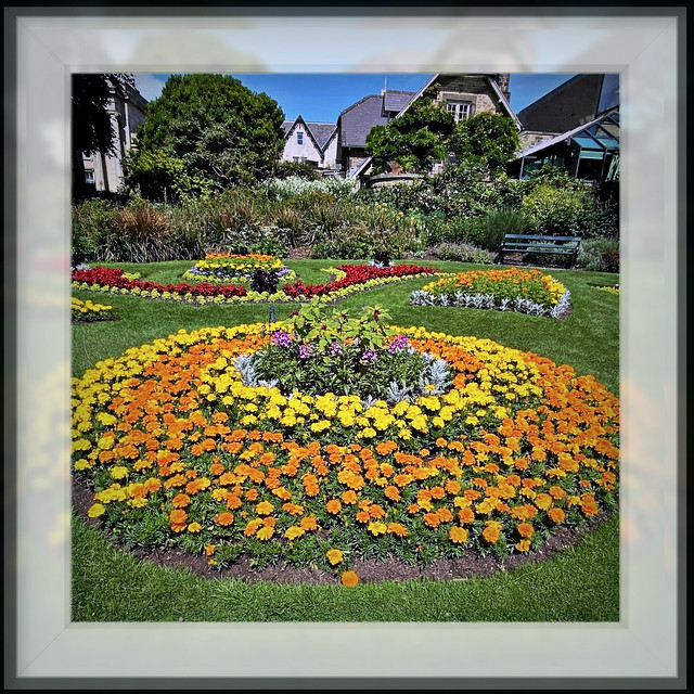 Formal English Flower Garden in Sheffield (South Yorkshire, UK)