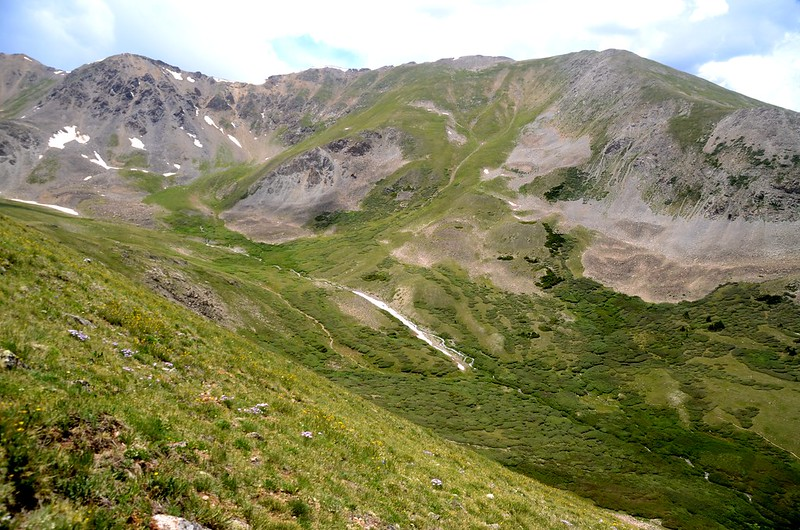 Looking down into Elkhead Pass from Belford's northwest slope