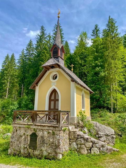 Mariahilf chapel by the Kaiserbach creek in the Kaiser valley in Tyrol, Austria