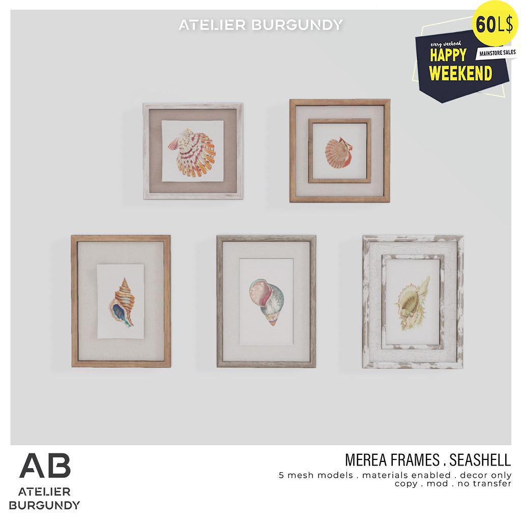 Atelier Burgundy . Merea Frames Seashell HW