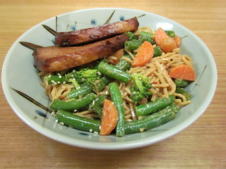 Spicy Sesame Noodles with Green Beans; Soy-Glazed Tofu
