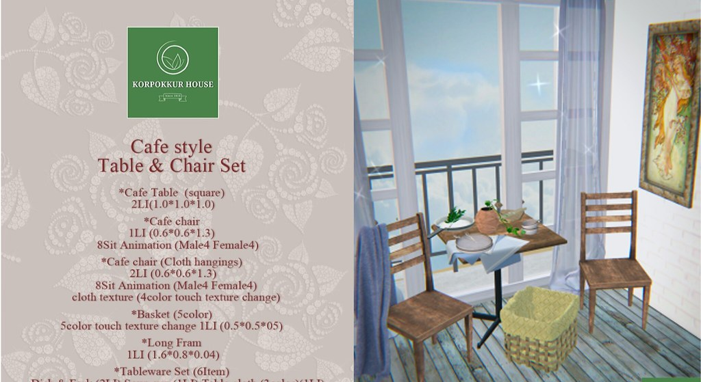 [KH]Cafe Style Table and chair Set and breaded Guy