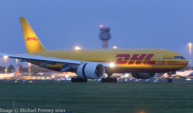 D-AALR - 2021 build Boeing B777-F, night arrival on Runway 27 at East Midlands