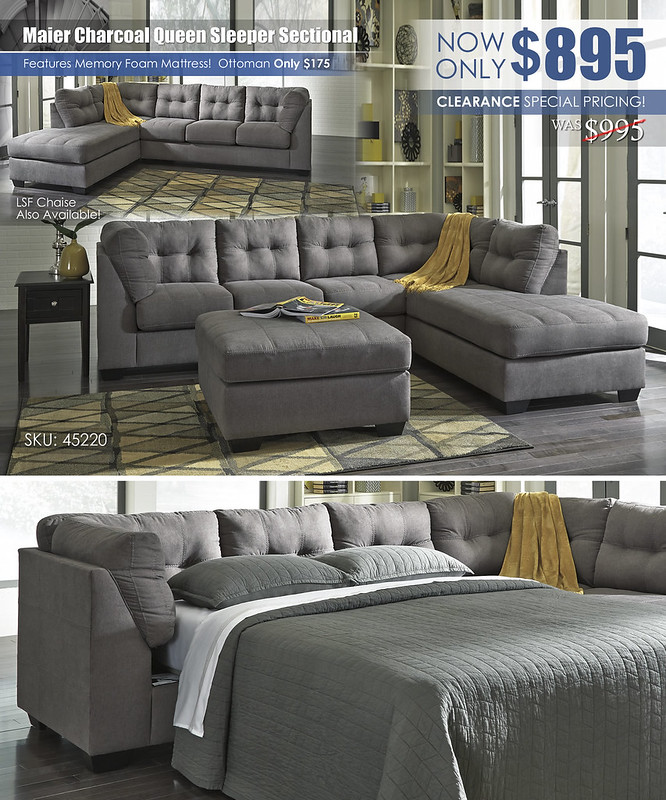 Maier Charcoal Queen Sleeper Sectional 45220_July2021