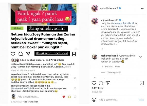 Netizan Dakwa Hubungan Mereka Hanya Gimik Marketing, Sekali Anju &Amp; Zoey Bersuara
