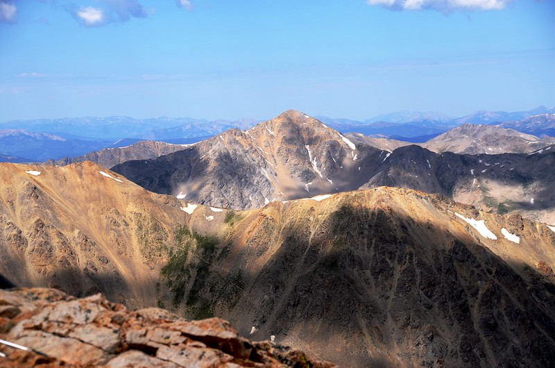 Looking west at Huron Peak from Mount Belford's summit
