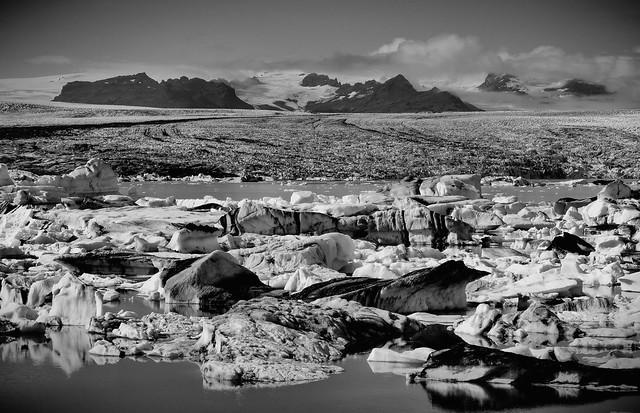 Joekulsarlon Glacial Lagoon, Vatnajoekull National Park, Iceland b/w