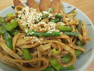 Szechuan Sesame Noodles with Asparagus