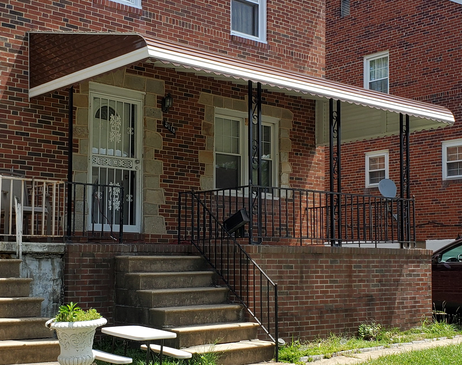 Brown Aluminum Porch Awning Baltimore-Hoffman Awning