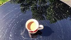 surface ... with mug of tea