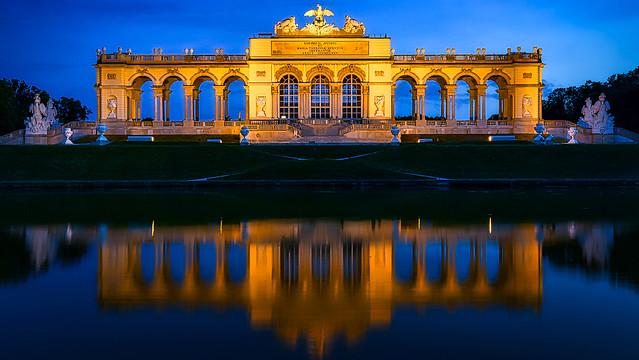 Schonbrunn Palace at Bluehour, Vienna, Austria