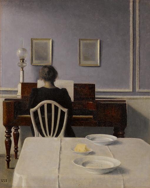 Vilhelm Hammershøi - Interior with Woman at Piano, Strandgade 30 [1901]