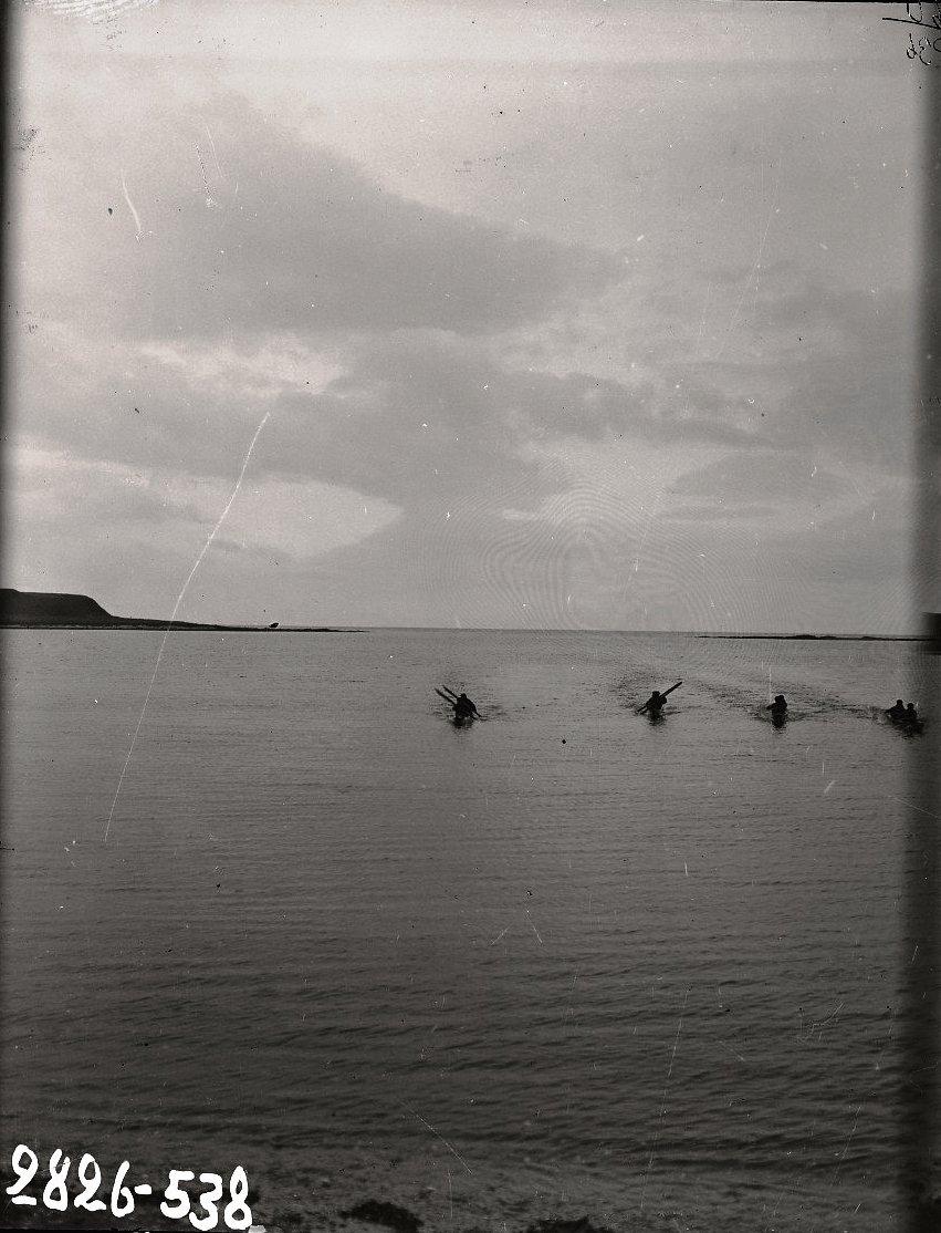 1909. Гонка алеутов в байдарках. Алеутские острова, Умнак остров, с. Никольское. 8 октября