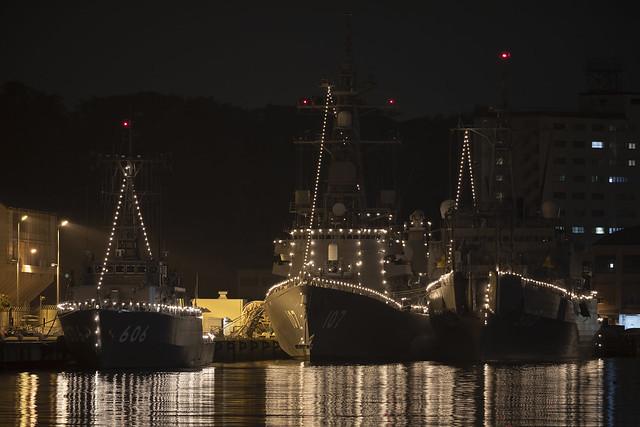 JS Hatsushima (MSC-606), JS Ikazuchi (DD-107) & JS Nichinan (AGS-5105)