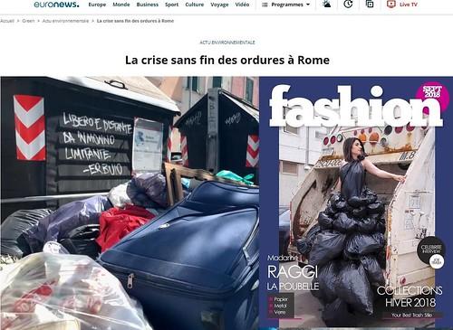 """RARA 2021. Parigi, """"Oui, je suis Madame Virginia Raggi - La Poubelle"""" - """"La crise sans fin des ordures à Rome - Des tas d'ordures jonchent les rues : une image tristement banale à Rome."""" France / EuroNews (13/07/2021) & V. Raggi / Instagram (17/07/2021)."""