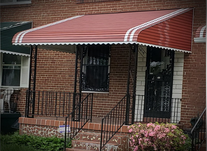 Terra Cotta Black Aluminum Porch Awning Baltimore-Hoffman Awning