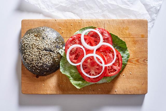 Tasty homemade hamburger on the cutting board