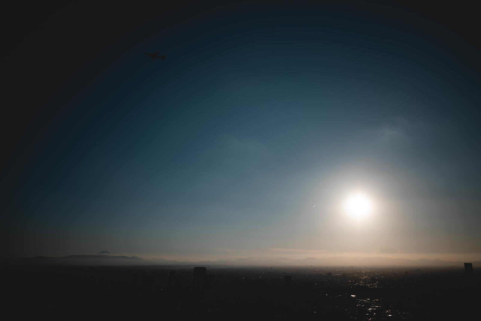 Mt Fuji, sun, airplane