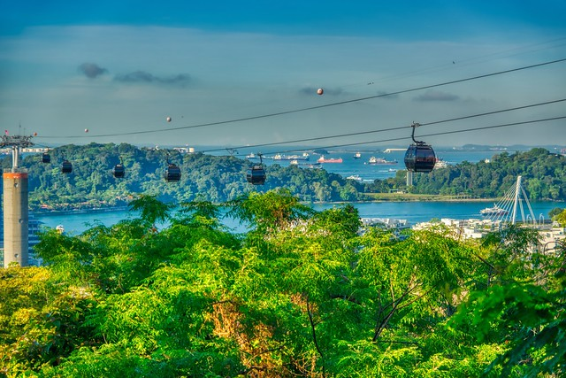 Cable car from Mount Faber to Sentosa island in Singapore