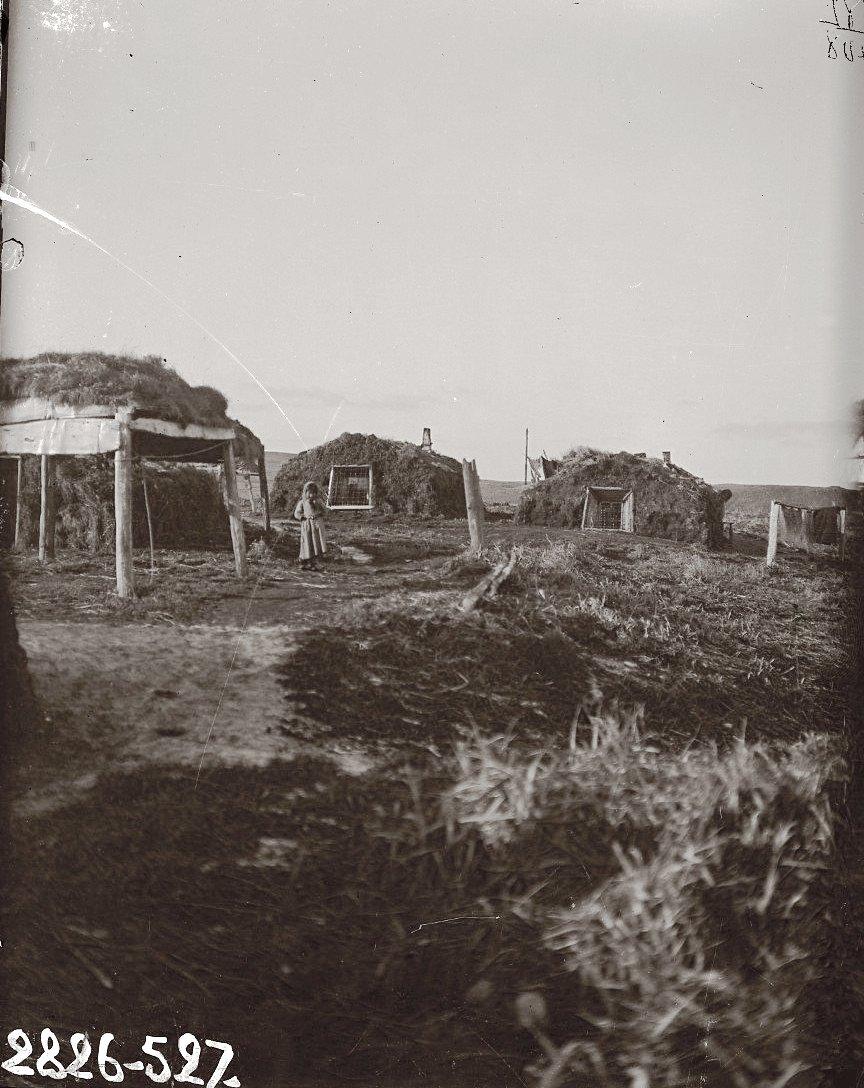 1909. Две алеутские землянки. Алеутские острова, Умнак остров, с. Никольское. 23 октября