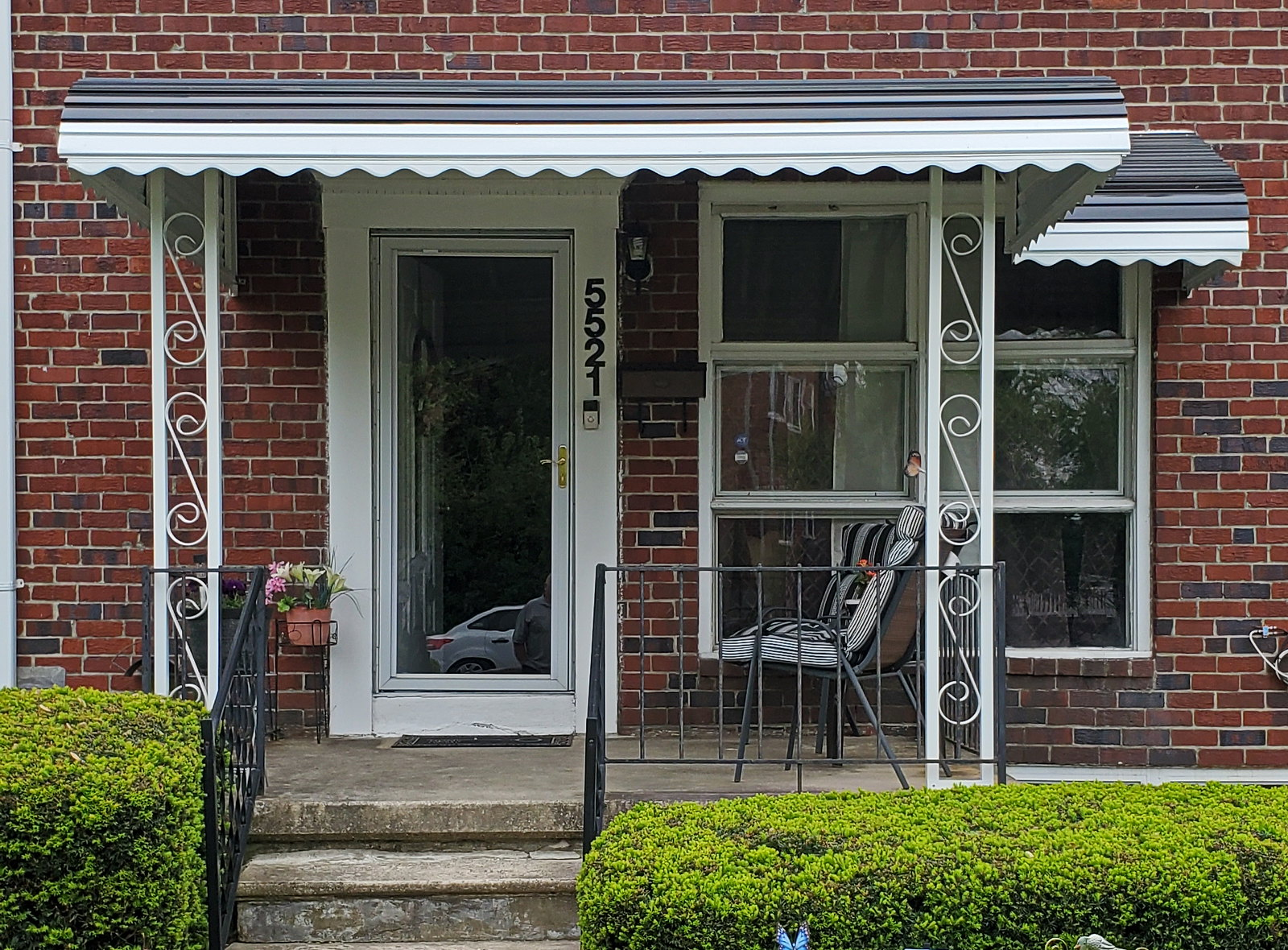 Black Aluminum Porch Awning Baltimore-Hoffman Awning