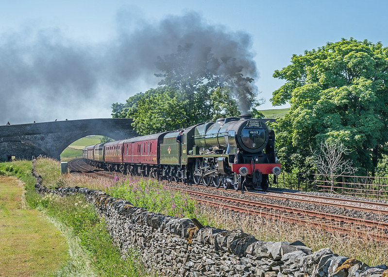 Royal Scot class 4-6-0 46115 'Scots Guardsman' gets to grip with the Long Drag to Blea Moor with the Cumbrian Mountain Express of 17th July 2021, the hottest day of the year so far. Although still mid morning, the temperature was already in excess of 25C.