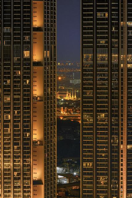 city of lights Grand Palace and Memorial Bridge at night, Bangkok, Thailand