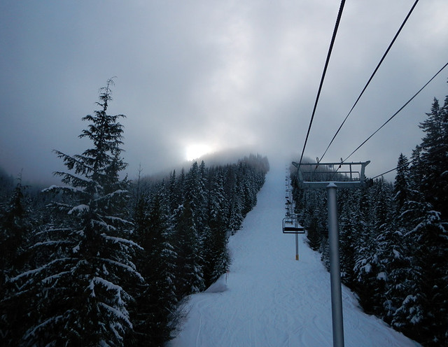 Trees, snow and chairlift at Silverstar, the original edit
