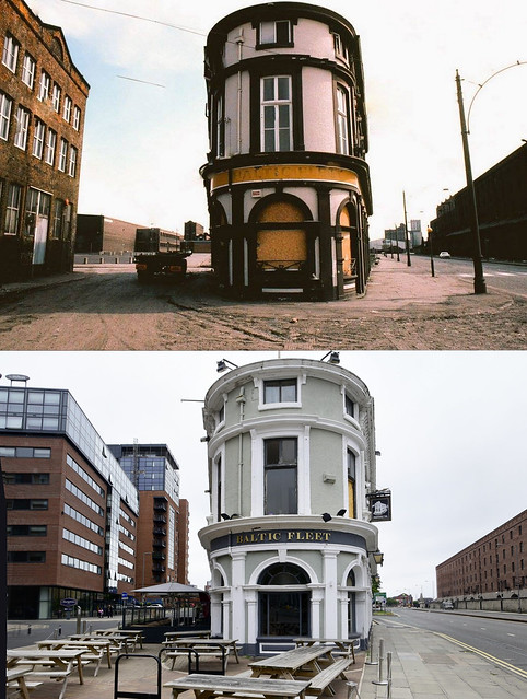 Baltic Fleet pub, Wapping, 1970s and 2021