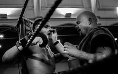 Boxer and his cornerman. White collar boxing