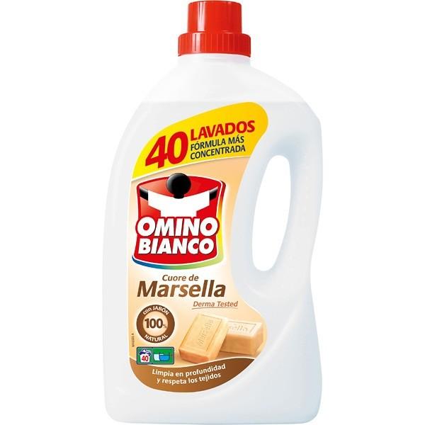Detergente Líquido Concentrado OMINO BIANCO Marsella con Jabón 100x100 natural 40 Lavados