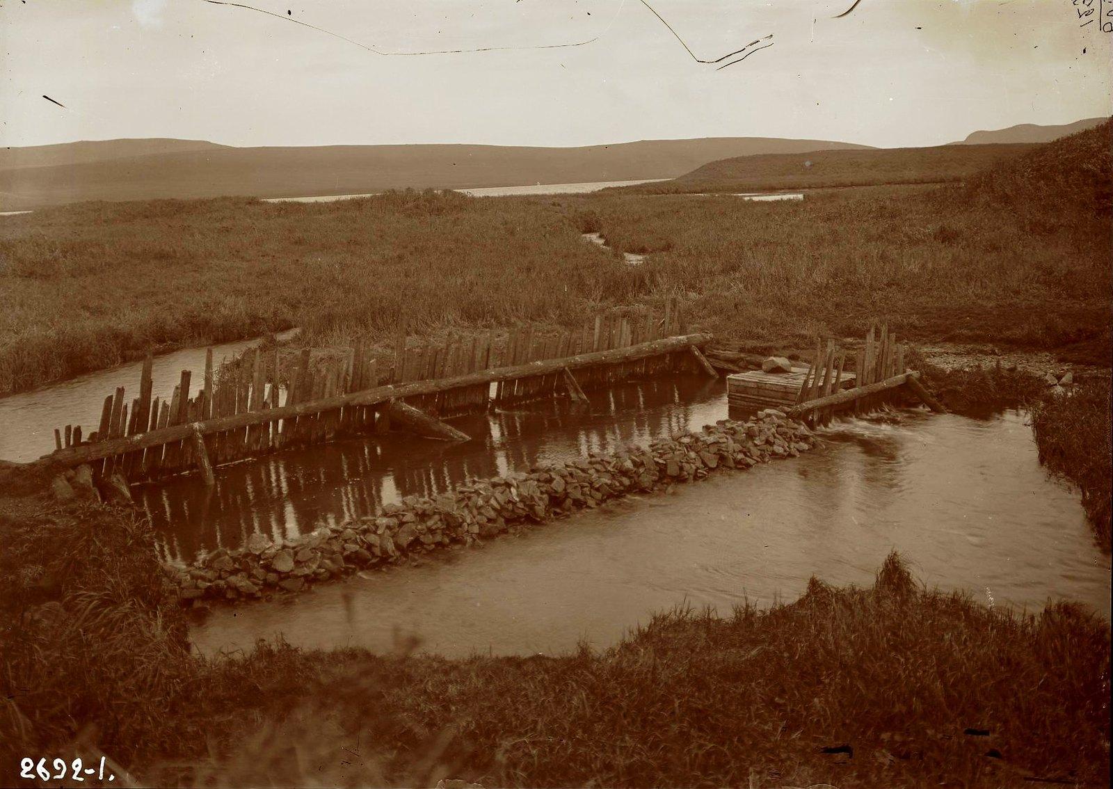 1909. Запор речки. Алеутские острова, Умнак остров, с. Никольское. 8 октября