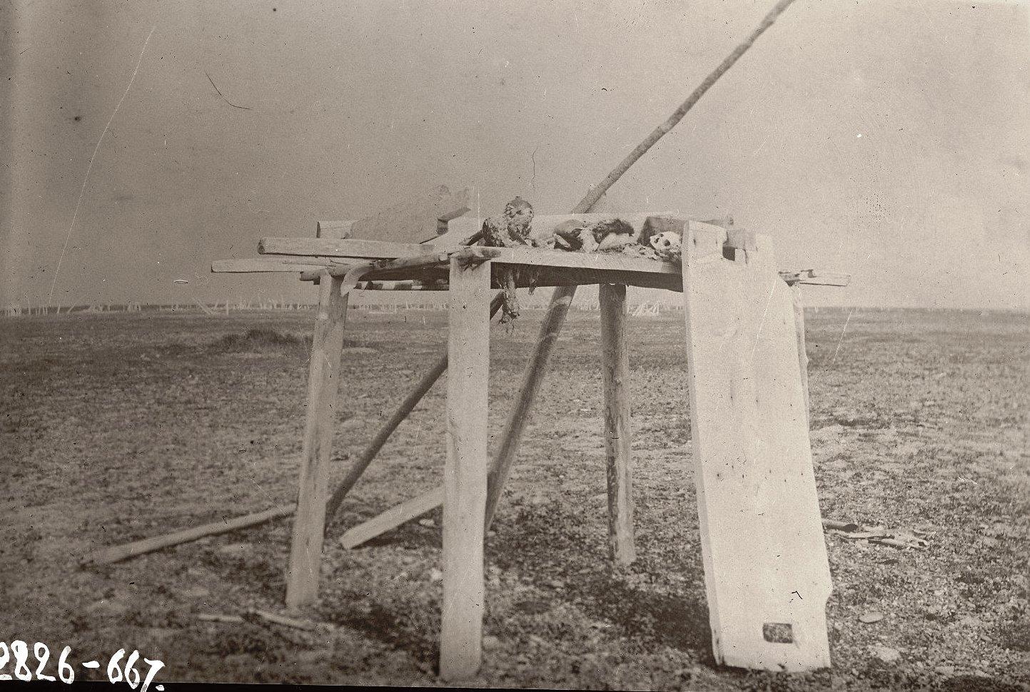 1909. Висячая могила на Пойнт-Хоуп.  Уналашка остров, селение Уналашка. 1 июня