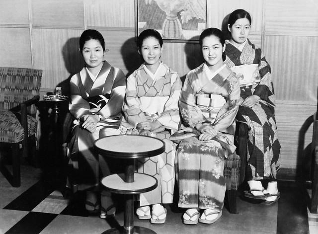 Four Japanese women aboard SS President Coolidge, 1936