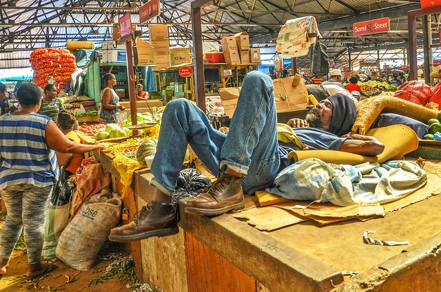Nap time in Trench Town market, Jamaica