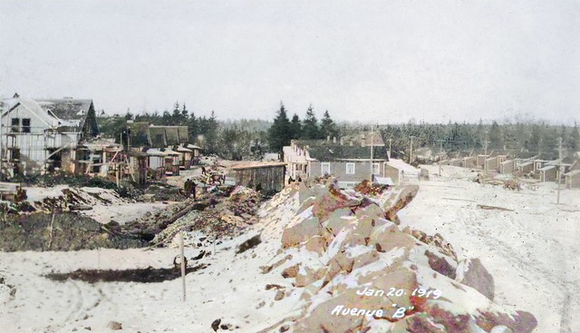 Imperoyal Village, work on Portland style homes on Avenue B, January 20, 1919 by vboudreau2016, colorized by Asar Studios