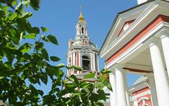 Holy Russia, Moscow Architecture, the Bell Tower & Columns of Martyr Nikita Church since 1745 in Staraya Basmannaya Street, Basmanny district. Православнаѧ Црковь.