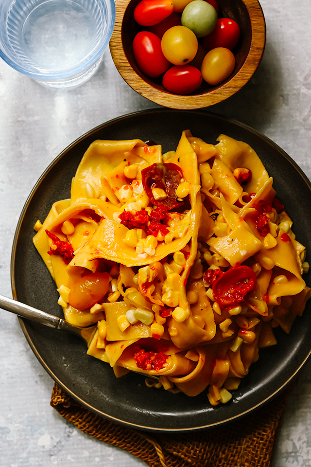 Pappardelle Pasta with Corn, Cherry Tomatoes, and Parmesan