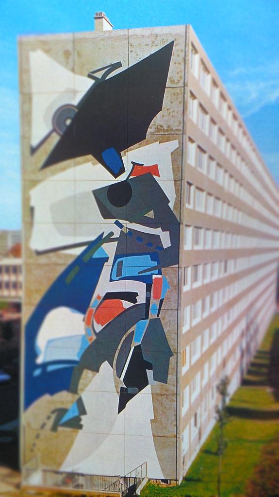 94 VITRY Cité COLOMBINE ...peinture murale d ALBERT BITRAN ....Groupe de 150 logements de l'OPHLM....1973