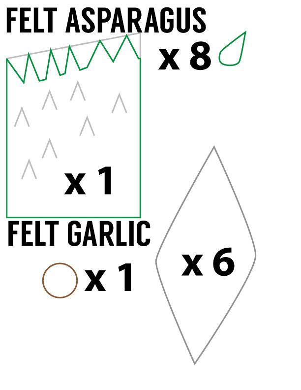 Felt Vegetable Pattern: Asparagus and Garlic