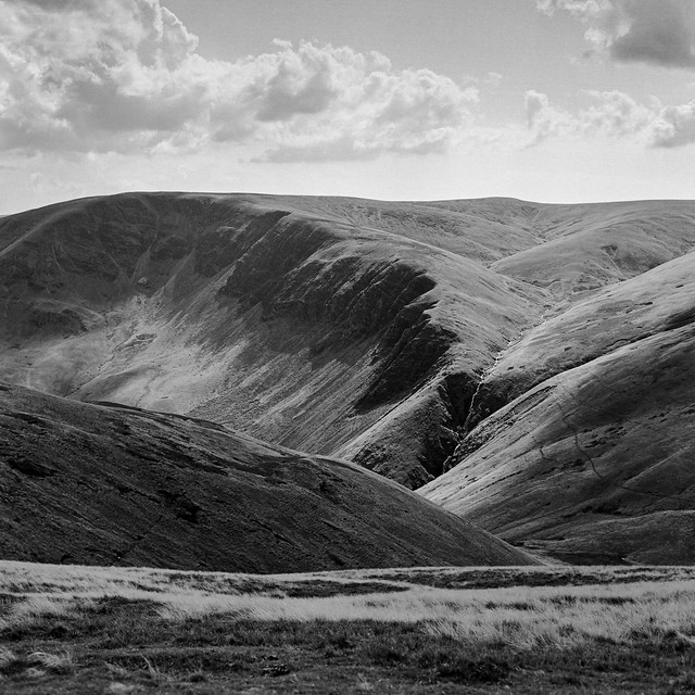 In the Howgill Fells - a view of the top of Cautley Spout