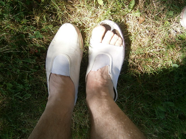 If your plimsolls get too hot in the sun then loosen them up and make them open toed !