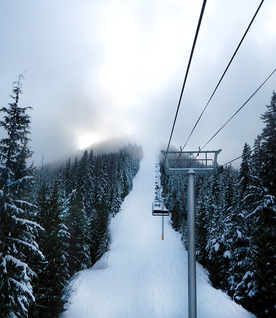 Trees, snow and chairlift at Silverstar, an experiment in editing white