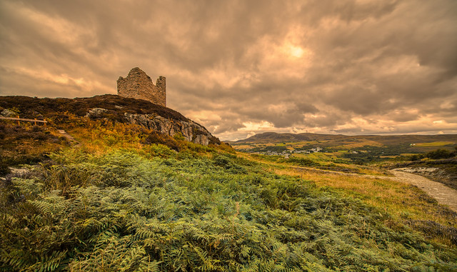 Castle Varrich overlooking the village of Tongue, Scotland.