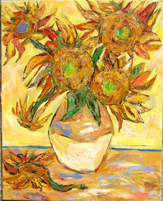 Sunflowers In  A  Yellow Clay Pot